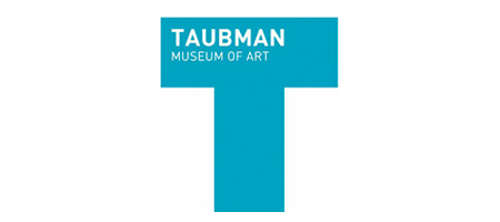 White text Taubman Museum of Art on Large Blue T shape