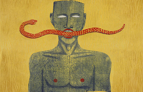 artwork by Alison Saar with human with a snake in mouth