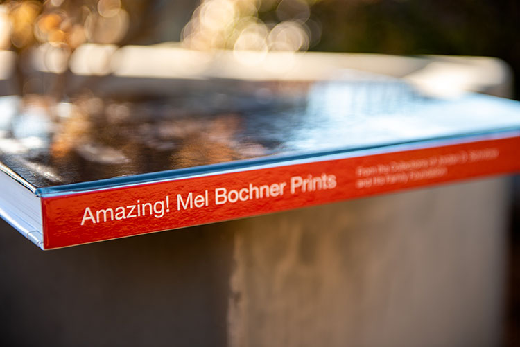 Amazing! Mel Bochner Prints book spine on its side, photographed outdoors