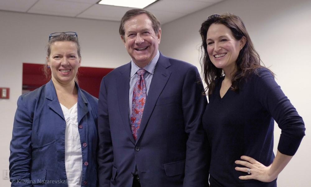 Jordan D. Schnitzer with Christiane Baumgartner and Jennifer Farrell post lecture. Image Credit: © Kristina Nazarevskaia