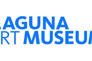 Laguna Art Museum logo. Blue text that reads Laguna Art Museum on a white background