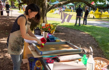 Grantee Mika Aono creating prints for Summer Reception attendees