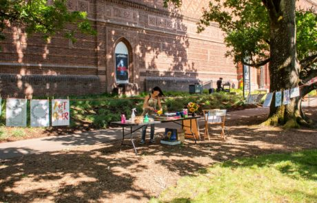 Mika Aono's print making space outside of the JSMA UO